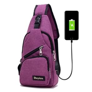 Dxyizu Multi-Function Portable Casual Canvas Chest Bag Outdoor Sports Shoulder Bag Waist Bag with External USB Charging Interface for Men / Women / Student(Purple)