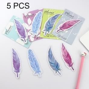 5 PCS Fresh Style Color Feather Stickers Message Notepad Convenience Stickers, Random Color Delivery