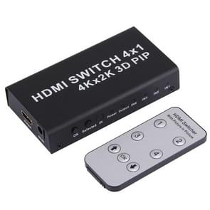 4K HDMI Switch 1.4b 4 in 1 Out Switcher with Picture-in-Picture (PIP) Function HD 4K*2K 3D PIP Switcher Converter, with Remote Control