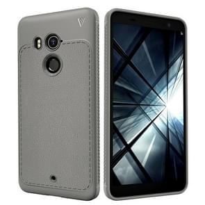 Lenuo Leshen Series for HTC U11+ TPU Litchi Texture Dropproof Protective Back Cover Case(Grey)