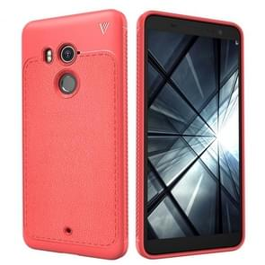 Lenuo Leshen Series for HTC U11+ TPU Litchi Texture Dropproof Protective Back Cover Case(Red)