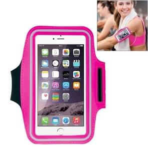 HAWEEL Sport Armband Case with Earphone Hole & Key Pocket for iPhone 6 Plus, Galaxy S6 / S5(Magenta)