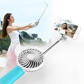 2 in 1 Portable USB Cooling Fan Blower with Three Adjustable Wind Speed + Wire Controlled Monopod Folding Extendable Handheld Pocket Holder Selfie Stick with Silicone Hand Strap, Folded Length: 22cm, Max Extension Length: 60cm(Blue)