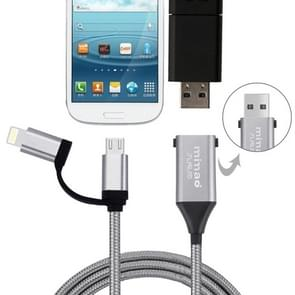 1M Multi-functional Mimao 8pin & Micro USB to OTG & USB 2.0 Data Sync Cable USB Charging Cable, For iPhone & iPad, Samsung, HTC, Sony, Huawei, Xiaomi(Grey)