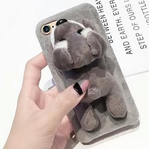 For iPhone 6 Plus & 6s Plus Cute Plush Animal Dolls Protective Back Cover Case (Grey)