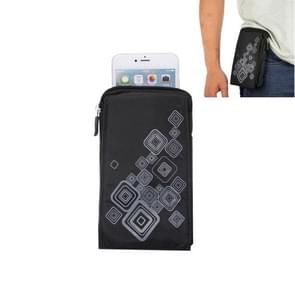 6.4 inch Multifunctional Square Pattern Canvas Sports Storage Waist Packs / Phone Cases / Hiking Bag / Camping Bag with Hanging Hook for iPhone 6S Plus / 7 Plus / Samsung Galaxy S7 Edge / Samsung Galaxy Note 8(Black)