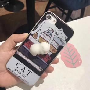 For iPhone 6 Plus & 6s Plus Black Background 3D Lovely Cat Squishy Protective Back Cover Case
