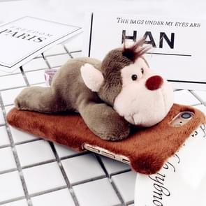 For iPhone 6 Plus & 6s Plus Fashion Plush Lovely Monkey Doll Toy Protective Back Cover Case (Brown)