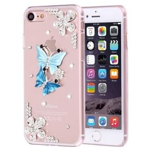 Fevelove for  iPhone 8 & 7  Diamond Encrusted Twin Butterflies Pattern PC Protective Case Back Cover