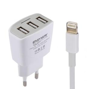 EASYWAY 5V 3.4A Portable 3 USB Ports Power Adapter Travel Charger with 1m USB to 8 Pin Charging Cable, EU Plug, For iPad , iPhone, Galaxy, Huawei, Xiaomi, LG, HTC and Other Smart Phones, Rechargeable Devices