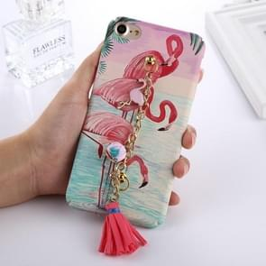 For  iPhone 8 & 7  Painted Flamingo Pattern Protective Back Cover Case with Tassel Chain