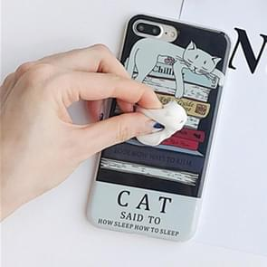 For iPhone 8 Plus & 7 Plus   Black Background 3D Lovely Cat Squishy Protective Back Cover Case