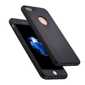 For iPhone 8 Plus & 7 Plus Stylish Lightweight 360 Degree Shockproof Detachable TPU + PC Combination Protective Case (Black)