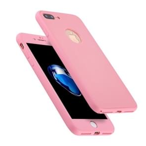 For iPhone 8 Plus & 7 Plus Stylish Lightweight 360 Degree Shockproof Detachable TPU + PC Combination Protective Case (Pink)