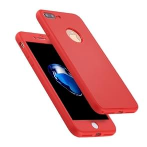 For iPhone 8 Plus & 7 Plus Stylish Lightweight 360 Degree Shockproof Detachable TPU + PC Combination Protective Case (Red)