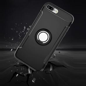 For iPhone 8 Plus & 7 Plus   Magnetic 360 Degree Rotation Ring Armor Protective Case(Black)