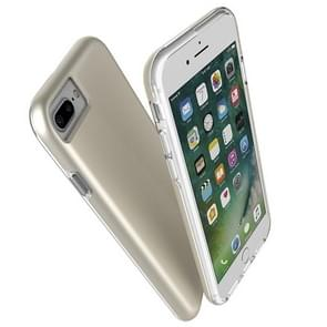 For iPhone 8 Plus & 7 Plus PC + TPU Chrome Plated Press Button Protective Back Cover Case (Gold)