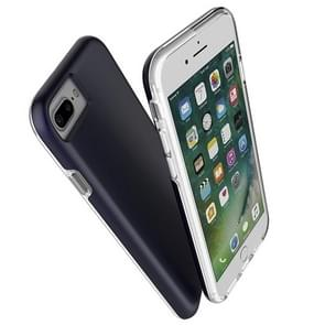 For iPhone 8 Plus & 7 Plus PC + TPU Chrome Plated Press Button Protective Back Cover Case (navy)