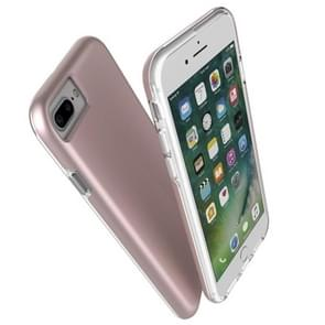 For iPhone 8 Plus & 7 Plus PC + TPU Chrome Plated Press Button Protective Back Cover Case (Rose Gold)