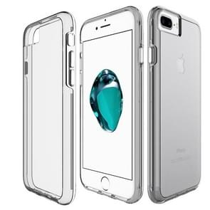 For iPhone 8 Plus & 7 Plus PC + TPU Chrome Plated Press Button Transparent Protective Back Cover Case (Grey)