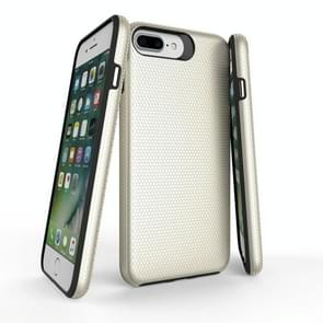 For iPhone 8 Plus & 7 Plus PC + TPU Chrome Plated Press Button Anti-slip Protective Back Cover Case (Gold)