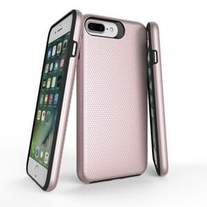For iPhone 8 Plus & 7 Plus PC + TPU Chrome Plated Press Button Anti-slip Protective Back Cover Case (Rose Gold)