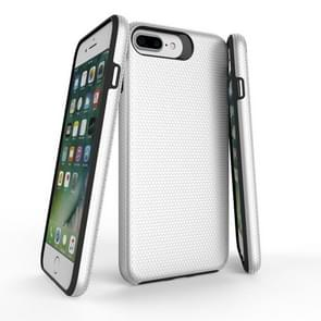 For iPhone 8 Plus & 7 Plus PC + TPU Chrome Plated Press Button Anti-slip Protective Back Cover Case (Silver)