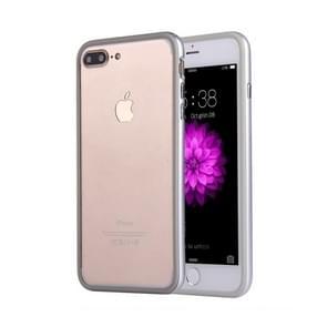 For iPhone 8 Plus & 7 Plus   Silicone + Metal Aluminum Bumper Frame(Silver)