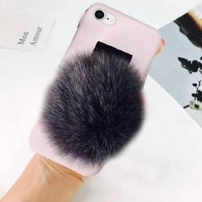For iPhone 8 & 7 Furry Ball Wrist Band Full Coverage Protective Back Cover Case (Grey)