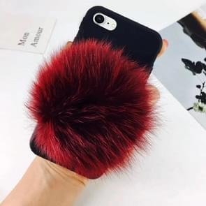 For iPhone 8 & 7 Furry Ball Wrist Band Full Coverage Protective Back Cover Case (Red)