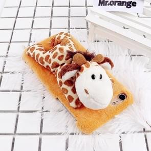 For iPhone 8 & 7 Fashion Plush Lovely Giraffe Doll Toy Protective Back Cover Case (Yellow)