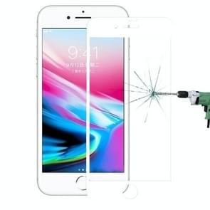 For iPhone 8 Plus 0.3mm 9H Surface Hardness 4D Curved Full Screen Tempered Glass Screen Protector (White)