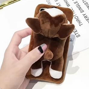 For iPhone 8 Plus & 7 Plus Cute Plush Animal Dolls Protective Back Cover Case (Brown)