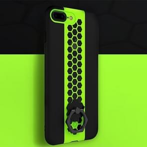TOTUDESIGN for iPhone 8 Plus & 7 Plus Honeycomb Texture TPU + PC Dropproof Protective Back Cover Case with Rotatable Ring Holder(Green)
