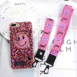 For iPhone 8 Plus & 7 Plus Fashion Cute Happy Smiling Face Pattern Sequin Protective Back Cover Case with Sling & Lanyard(Pink)