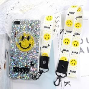 For iPhone 8 Plus & 7 Plus Fashion Cute Happy Smiling Face Pattern Sequin Protective Back Cover Case with Sling & Lanyard(Silver)