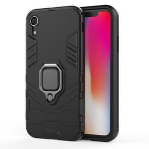 PC + TPU Shockproof Protective Case with Magnetic Ring Holder For iPhone XR (Black)