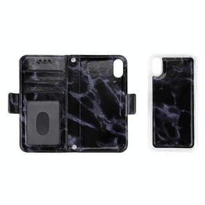 Detachable Marble Pattern TPU+PU Leather Case with Card Slot & Wallet & Lanyard For  iPhone XS Max  6.5 inch(Black)