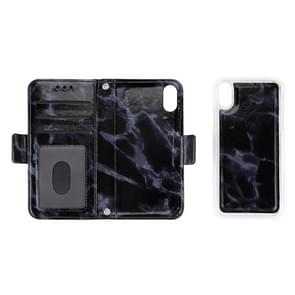 Detachable Marble Pattern TPU+PU Leather Case with Card Slot & Wallet & Lanyard For  iPhone XR  6.1 inch(Black)