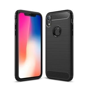 Brushed Texture Carbon Fiber Shockproof TPU Protective Back Case for iPhone XR(Black)