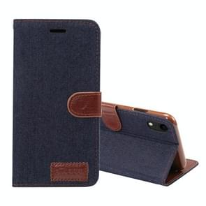 Dibase Denim Texture Horizontal Flip Leather Case for iPhone XR, with Holder & Card Slots(Black)