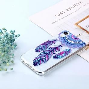 Blue Feather Wind Chimes Pattern Diamond Texture Oil Embossed TPU Case for iPhone XR