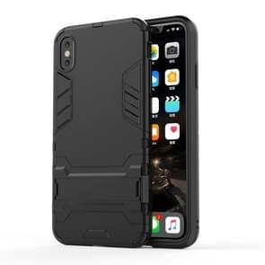 PC + TPU Shockproof Protective Case with Holder For iPhone XS Max (Black)