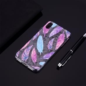 Colorful Feather Pattern Diamond Texture TPU Protector Back Cover Case for  iPhone XS Max
