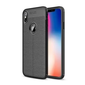 Litchi Texture TPU Case for  iPhone XS Max(Black)