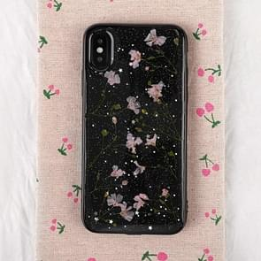 Floral Pattern Soft Case For  iPhone XS Max  6.5 inch(Black+Pink)