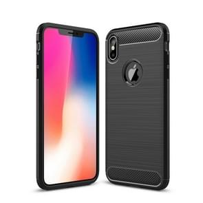 Brushed Texture Carbon Fiber Shockproof TPU Protective Back Case for  iPhone XS Max(Black)