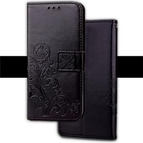 Embossed Pattern PU + TPU Horizontal Flip Leather Case for iPhone XS Max, with Holder & Card Slots & Wallet (Black)