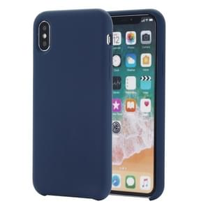 Four Corners Full Coverage Liquid Silicone Protective Case Back Cover for  iPhone XS Max  6.5 inch(Blue)
