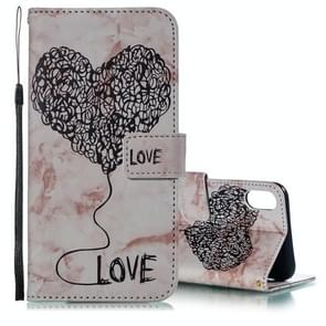 Heart + Marble Pattern Horizontal Flip Leather Case for  iPhone XS Max , with Holder & Card Slots & Wallet & Lanyard(Coffee)